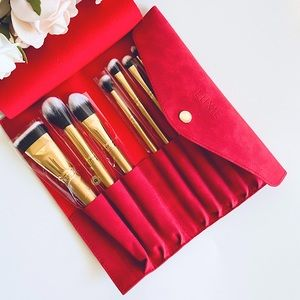LUXIE Glitter and Gold Brush Set w/ leather Pouch